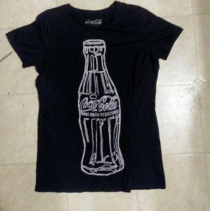 Small Black Womens Coca-Cola T-Shirt Top